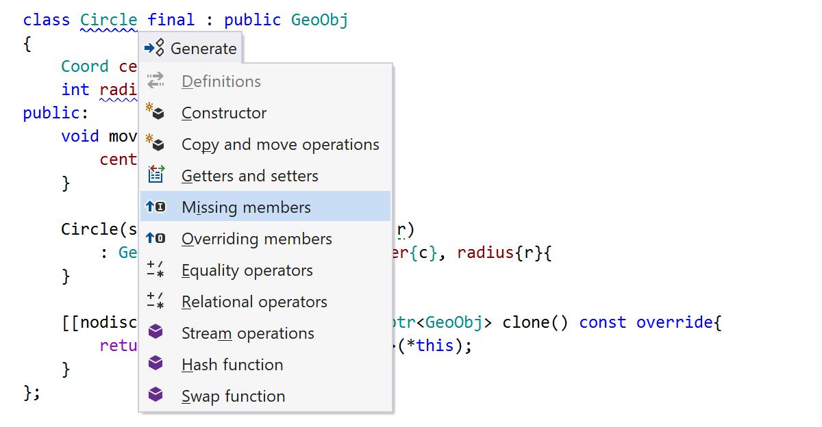 Generate missing members with ReSharper C++