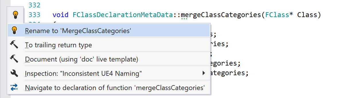 ReSharper C++ warns about inconsistent naming